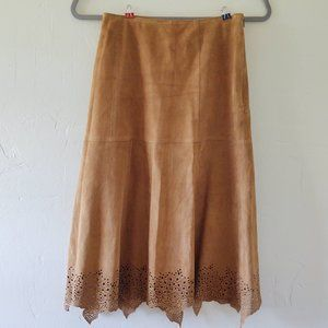 High-waisted Suede Skirt, Tan, (S)
